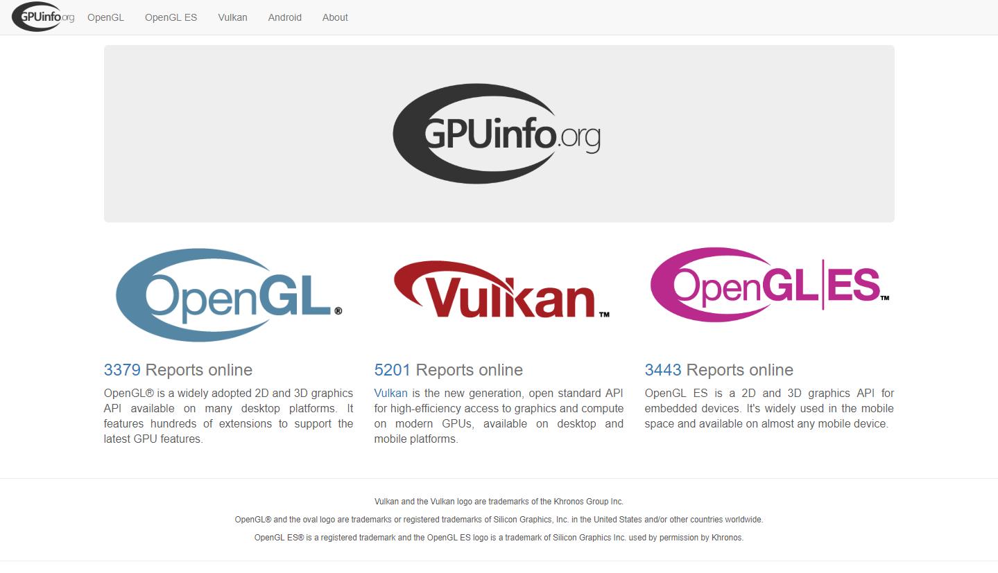 GPU hardware database landing page - Sascha Willems